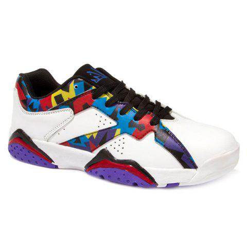 Latest PU Leather Lace-Up Geometric Print Athletic Shoes WHITE 43
