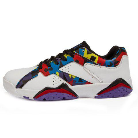 Sale PU Leather Lace-Up Geometric Print Athletic Shoes - 42 WHITE Mobile