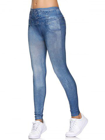 Chic Fake Button  High Waisted Leggings - ONE SIZE LIGHT BLUE Mobile