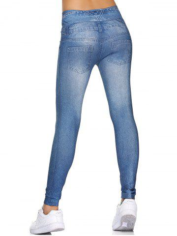 Store Fake Button  High Waisted Leggings - ONE SIZE LIGHT BLUE Mobile