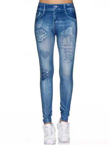 Hot Spliced Faux Jeans Fit Leggings DENIM BLUE ONE SIZE