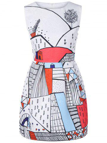 Fancy Sleeveless Print Fitted Dress