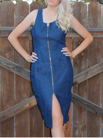 Latest Zip Up Bodycon Denim Bandage Night Out Dress