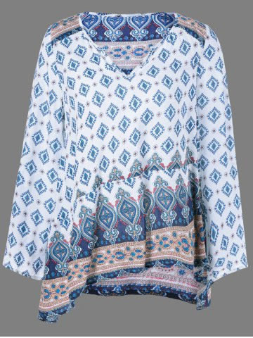 Best Vintage Flower Print Smock Blouse