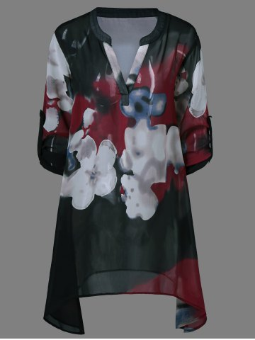 Shop Ink Painting Floral Blouse - M BLACK Mobile