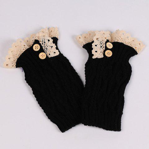 Sale Lace Edge Buttons Rhombus Knitted Boot Cuffs - BLACK  Mobile