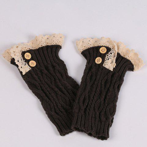 Shop Lace Edge Buttons Rhombus Knitted Boot Cuffs - BLACK  Mobile