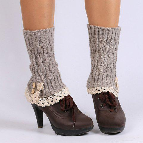 Shop Lace Edge Buttons Rhombus Knitted Boot Cuffs SMOKY GRAY