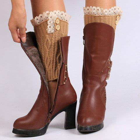 Lace Edge Buttons Rhombus Knitted Boot Cuffs - Antique Brown - 38