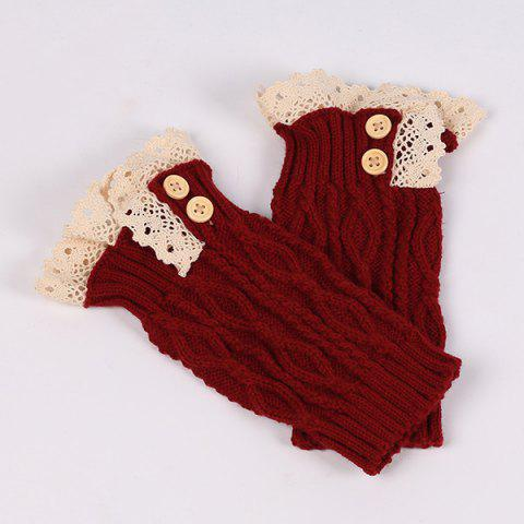 Online Lace Edge Buttons Rhombus Knitted Boot Cuffs DEEP RED