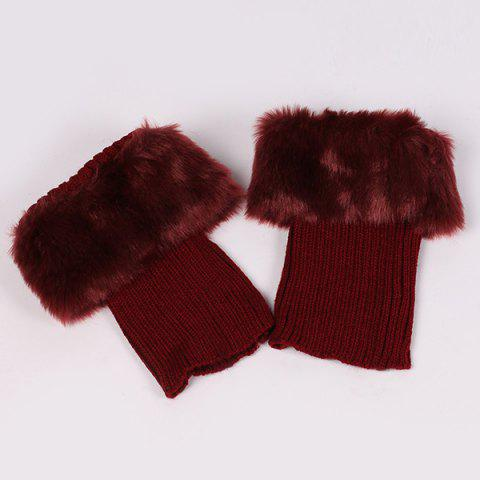 Latest Thicken Faux Fur Edge Knitted Boot Cuffs DEEP RED