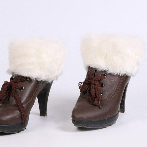Hot Thicken Faux Fur Edge Knitted Boot Cuffs WHITE