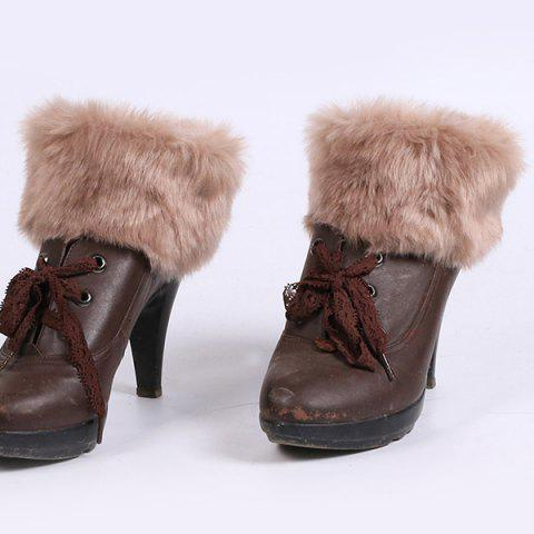 Thicken Faux Fur Edge Knitted Boot Cuffs - Antique Brown - 38