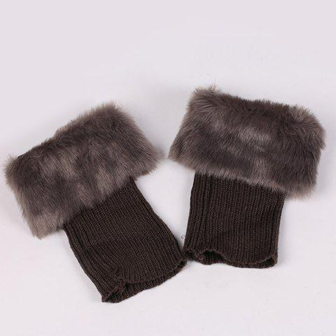 Outfit Thicken Faux Fur Edge Knitted Boot Cuffs - GRAY  Mobile