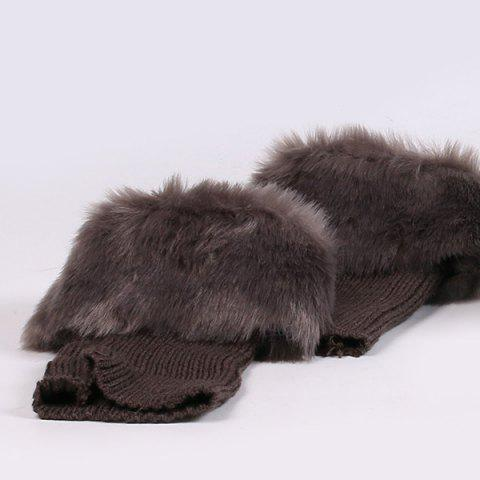 Online Thicken Faux Fur Edge Knitted Boot Cuffs - GRAY  Mobile