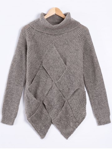 Outfits Turtle Neck Long Sleeve High Low Pullover Sweater GRAY ONE SIZE