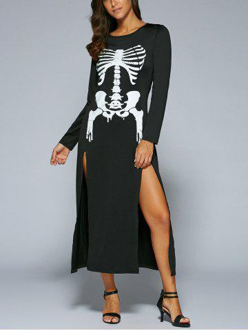 Hot Halloween Long Sleeve Skeleton Print High Slit  Maxi Dress BLACK XL