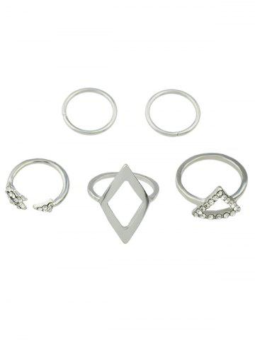 Best Rhinestone Alloy Triangle Jewelry Set Rings SILVER ONE-SIZE