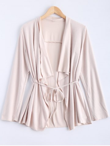 Discount Drape Neck Frosted Belt Design Coat