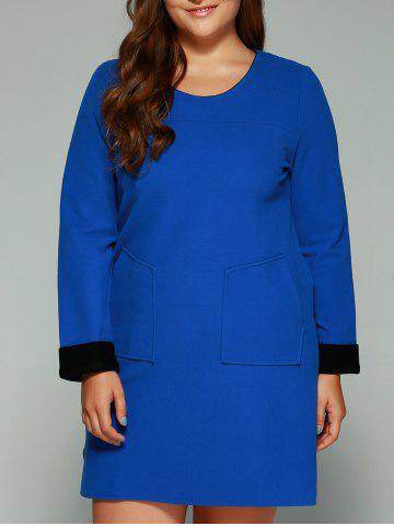 Latest Plus Size Double Pockets Shift Dress