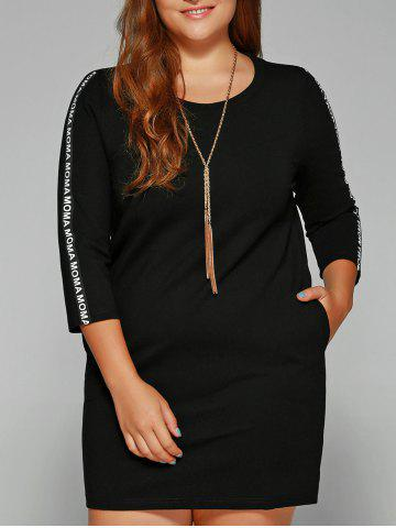 Outfit Plus Size Letter Print Sleeve Shift Dress
