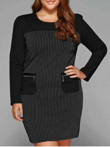 Best Plus Size Striped Zipper Pockets Dress