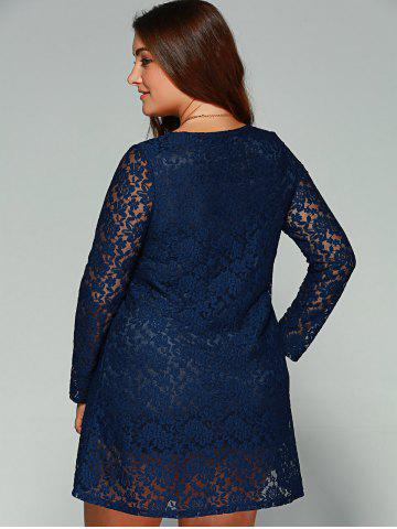 Discount Plus Size Long Sleeve Lace Dress - 2XL BLUE Mobile
