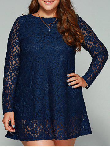 Buy Plus Size Long Sleeve Lace Dress - 2XL BLUE Mobile