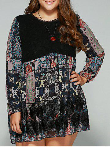 Chic Plus Size Lace Splicing Smock Dress