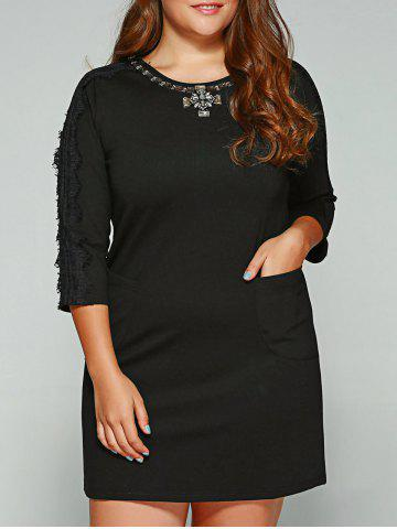 Unique Plus Size Lace Trim Rhinestone Embellished Dress BLACK 5XL