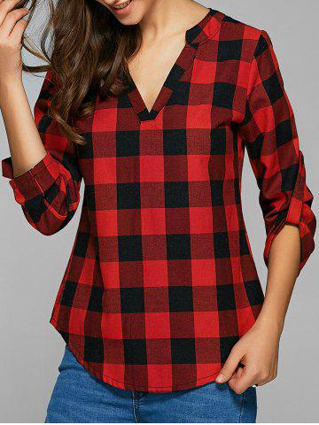 Plaid Loose-Fitting Cotton Blouse - Red - M