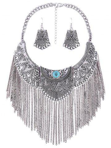 Shops Personality Geometry Tassel Fake Collar Necklace Earrings SILVER