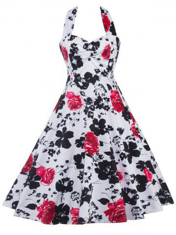 Halter Floral Print Shirred Dress - Black And White And Red - S