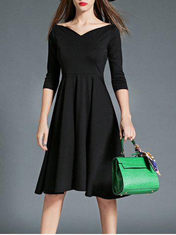 Outfit 3/4 Sleeves High Waist Flare Dress