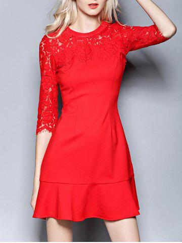 New Lace Spliced Flounced Openwork Dress