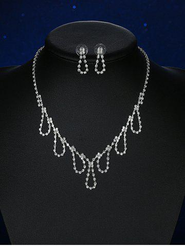 Trendy Rhinestoned Water Drop Wedding Jewelry Set SILVER