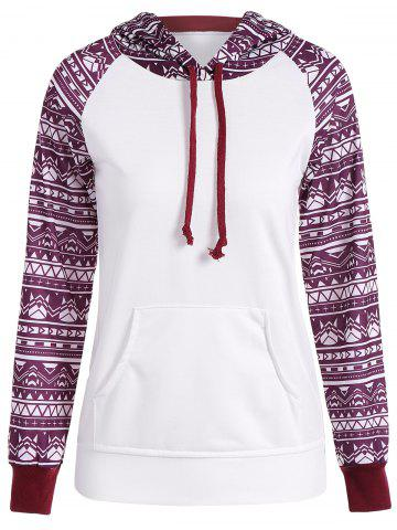 Chic Printed Big Pocket Pullover Hoodie WHITE S