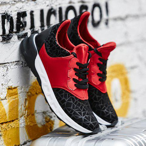 Sale Lace-Up Geometric Print Flock Athletic Shoes - 40 RED WITH BLACK Mobile