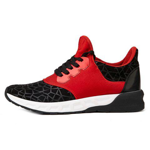 Latest Lace-Up Geometric Print Flock Athletic Shoes - 40 RED WITH BLACK Mobile