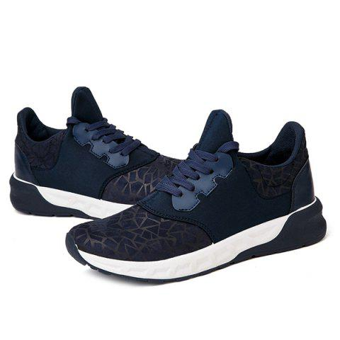 Affordable Lace-Up Geometric Print Flock Athletic Shoes - 44 DEEP BLUE Mobile