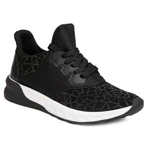 Outfit Lace-Up Geometric Print Flock Athletic Shoes - 42 BLACK Mobile
