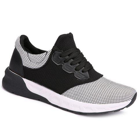 Discount Mesh Tie Up Athletic Shoes WHITE 43