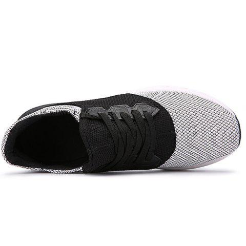 Buy Mesh Tie Up Athletic Shoes - 40 WHITE Mobile