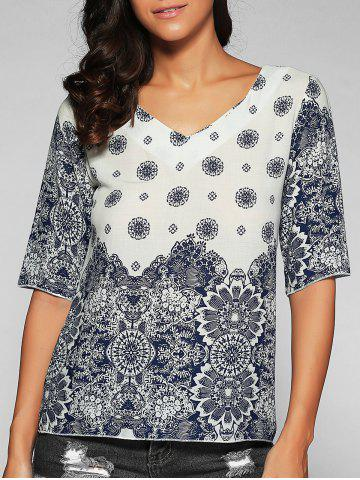 Affordable V Neck Elbow Sleeve Printed T-Shirt BLUE AND WHITE XL