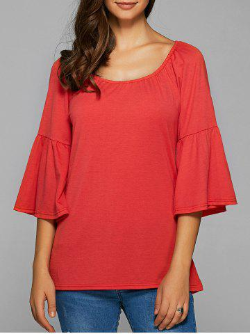 Trendy Flare Sleeve High Low Blouse