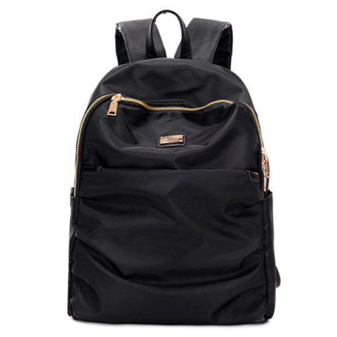 Chic Nylon Double Zipper Metal Backpack