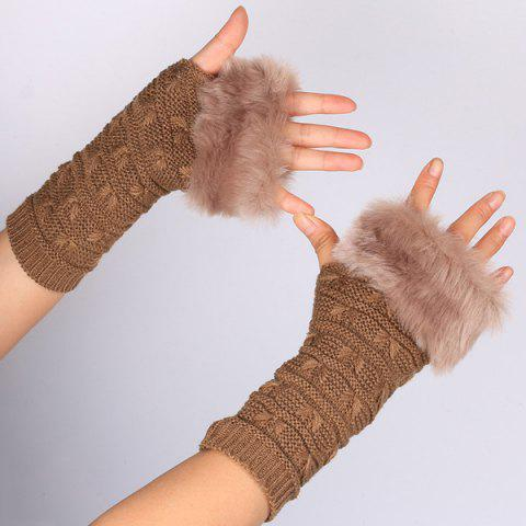 Hiver Faux Rabbit Fur Knitting Butterfly Hand Fingerless Gloves Brun