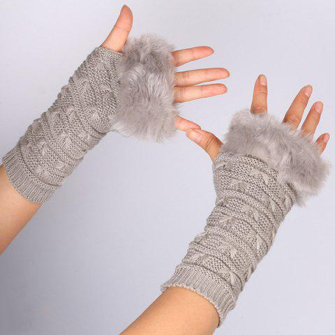 Shops Winter Faux Rabbit Fur Knitting Butterfly Hand Fingerless Gloves GRAY