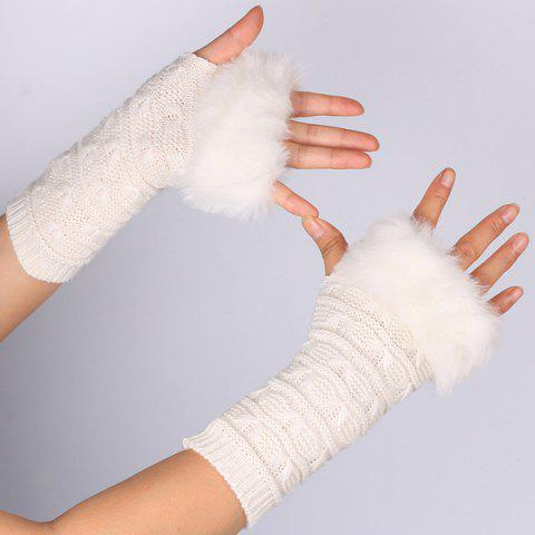 Outfit Winter Faux Rabbit Fur Knitting Butterfly Hand Fingerless Gloves OFF WHITE