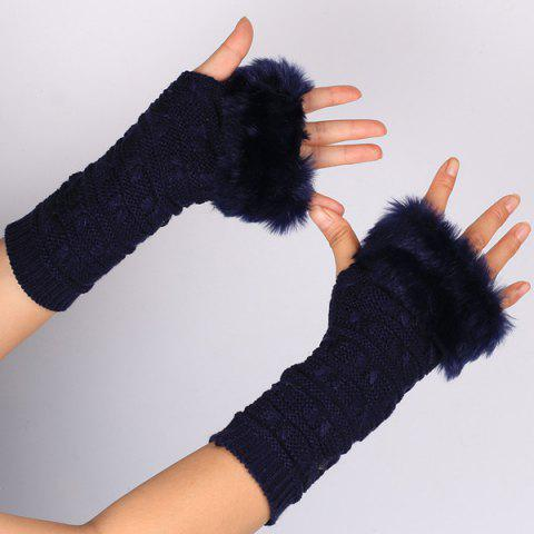Chic Winter Faux Rabbit Fur Knitting Butterfly Hand Fingerless Gloves